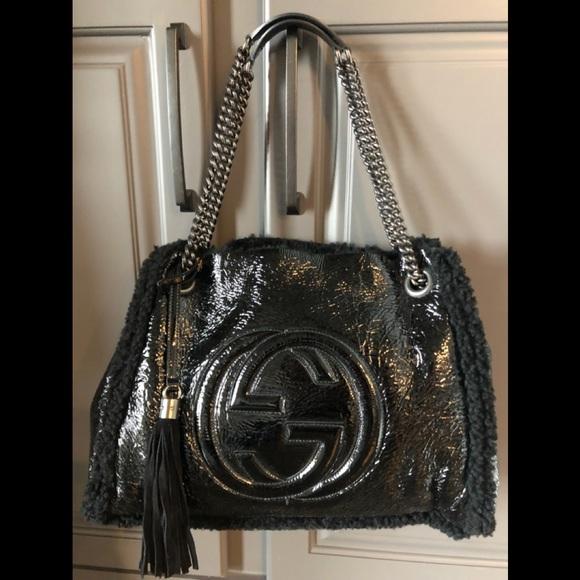 Gucci Handbags - Gucci Crushed Patent Leather/ Shearling Soho Bag